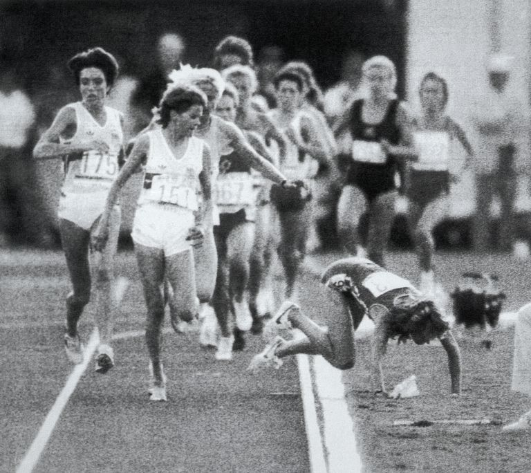 Mary Decker Falling in 3000 Meter Race