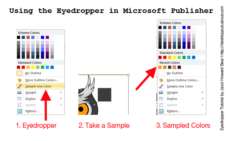 3 steps for sampling colors with the eyedropper tool in Publisher