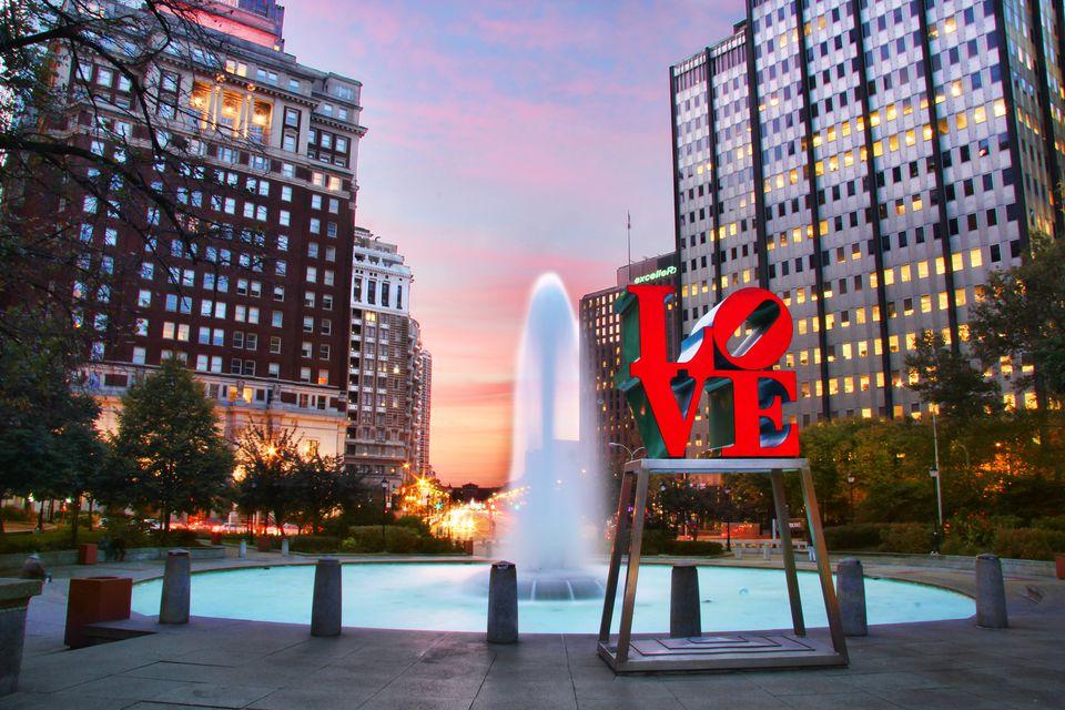 Love Park in Philadelphia at sunset