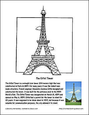 the eiffel tower coloring page - Paris Eiffel Tower Coloring Pages