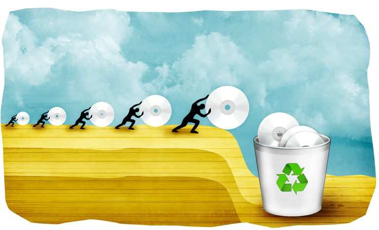 Illustration of people throwing data into a recycle bin