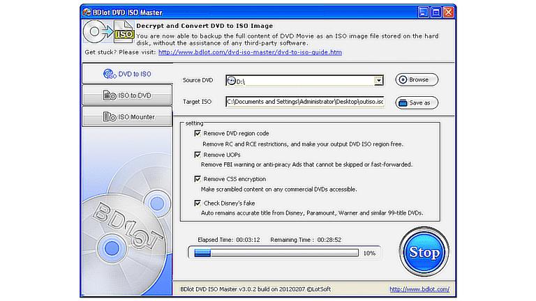 Screenshot of the BDlot DVD ISO Master program in Windows
