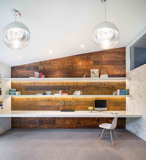 Home office with reclaimed wood furnishings