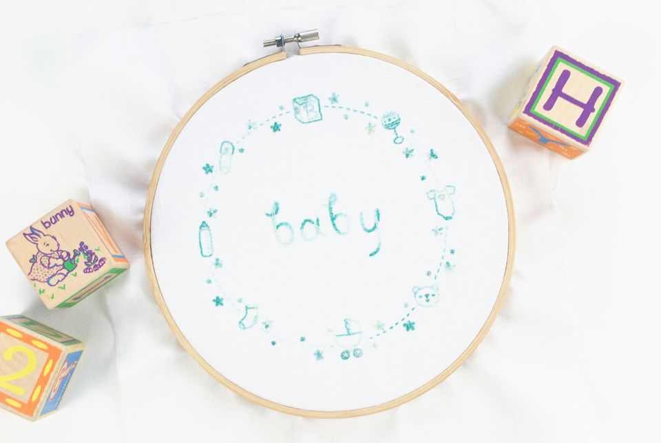 Baby Border Hand Embroidery Pattern