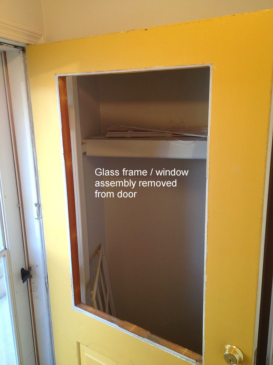 glass frame removed from door