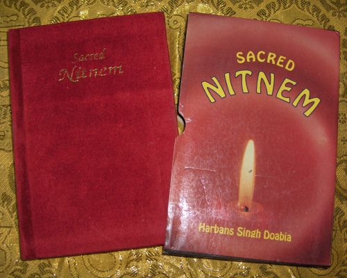 Sacred Nitnem With Velour Hardcover and Printed Carboard Slip Cover