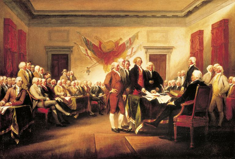 Founding Fathers presenting their draft of Declaration of Independence to Congress, June 28, 1776, by John Trumbull (1756-1843), 1819, Declaration of Independence of United States of America, United States, 18th century