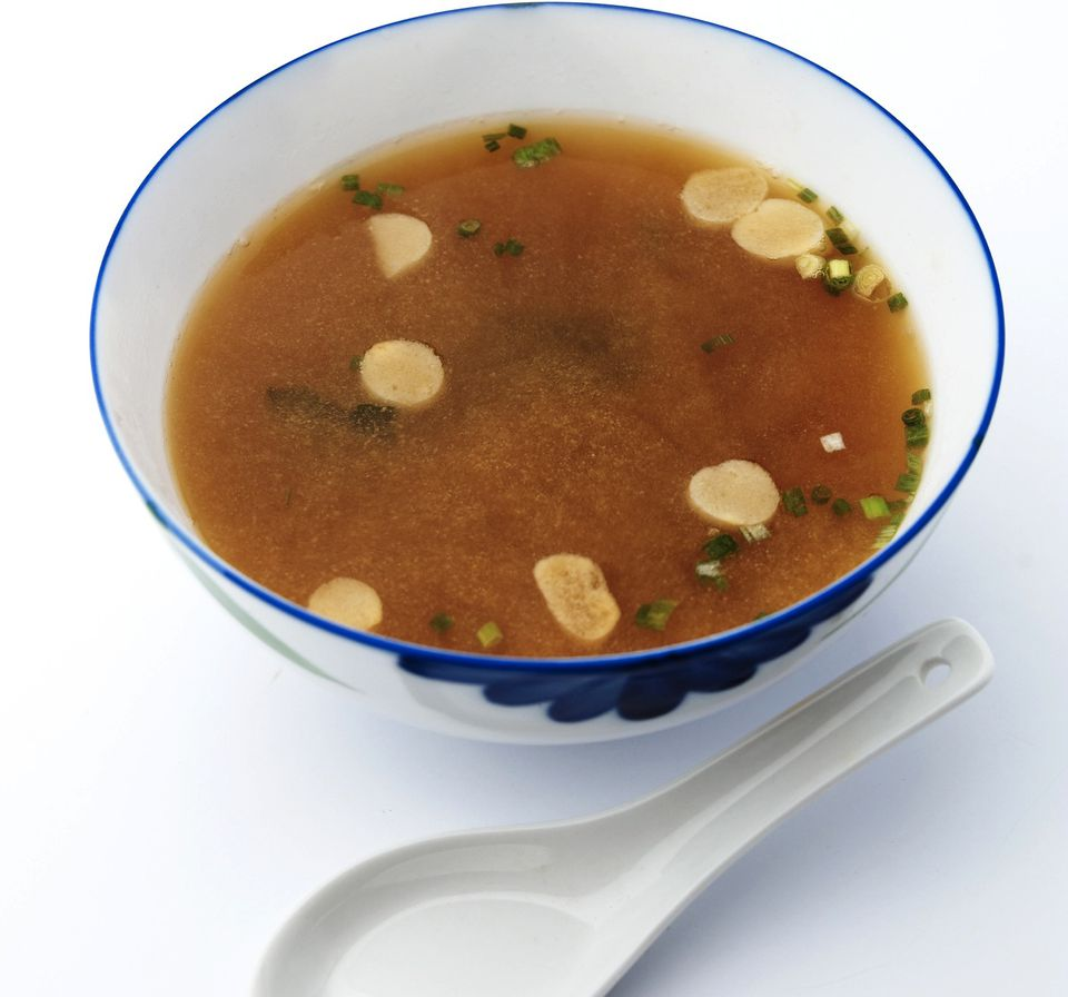 Vegan miso soup with garlic and scallions