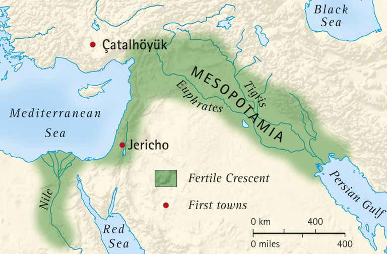 Digital illustration of the fertile crescent of Mesopotamia and Egypt and location of first towns