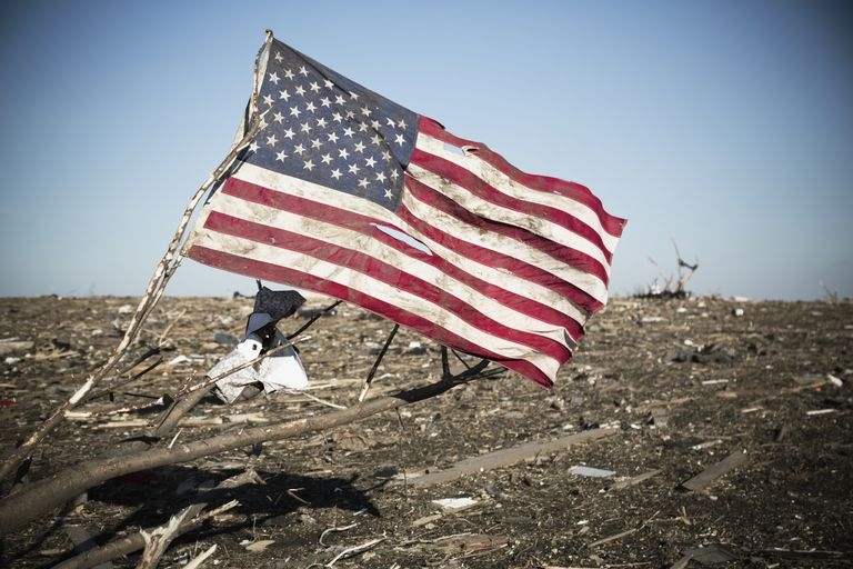 tornado debris us flag