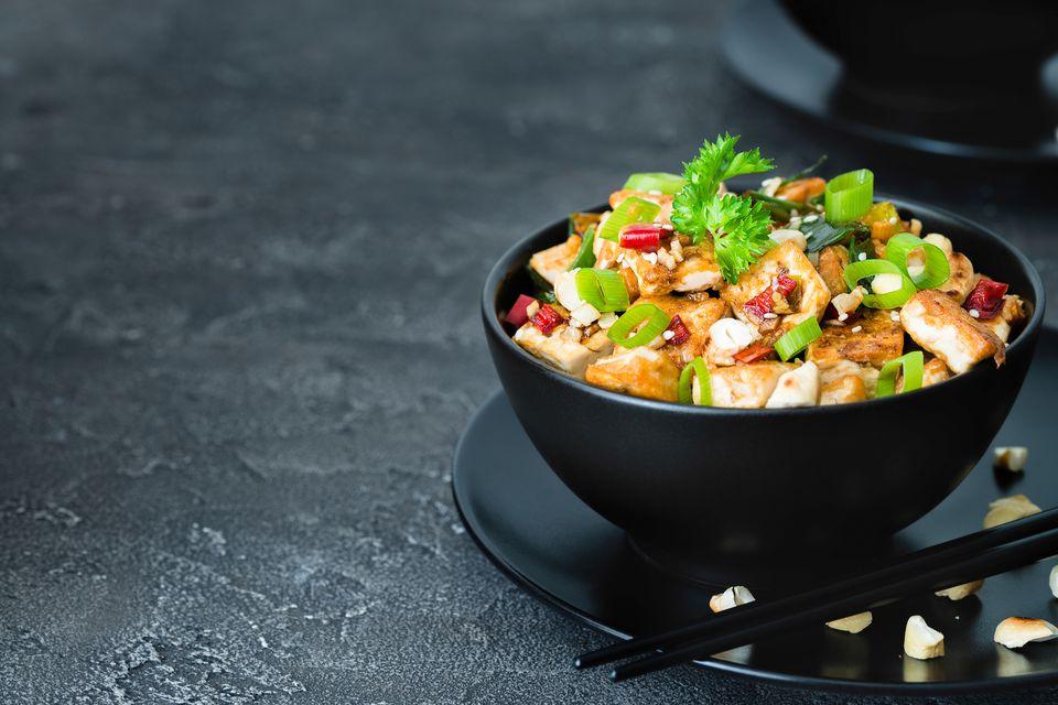 "A bowl of tofu cashew ""chicken"" stir-fry"