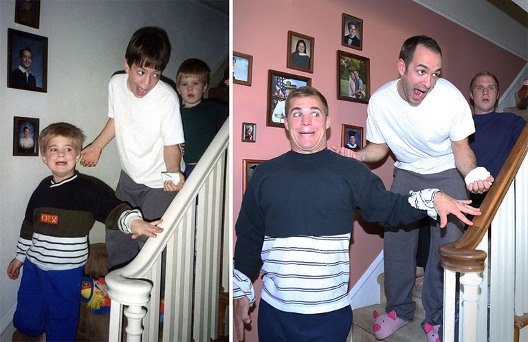 3 brothers recreate childhood photos