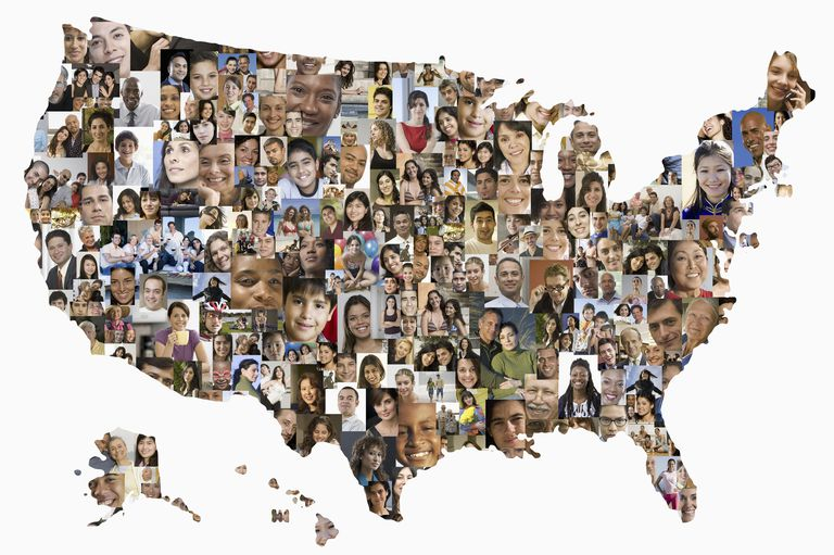 Collage of people's faces in shape of United States map