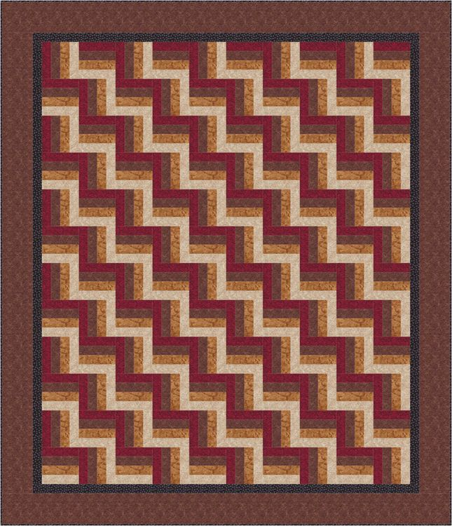 Easy Rail Fence Bed Quilt Pattern