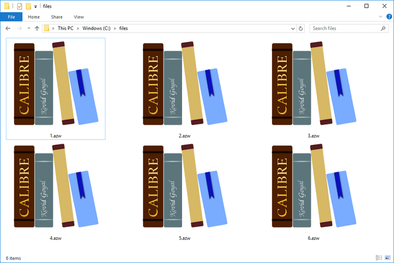 Screenshot of several AZW files in Windows 10 that open with the Calibre program