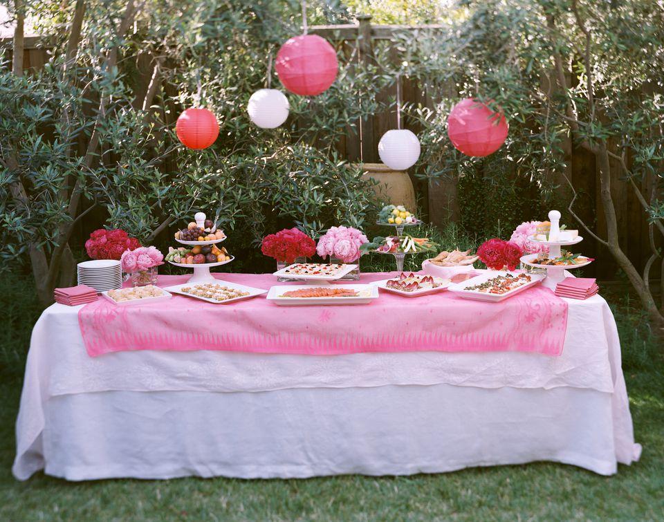 Table set for celebration on lawn