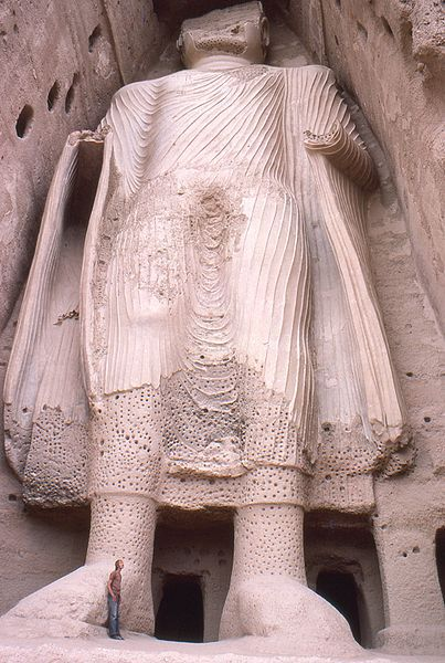 A 6th century Buddha of Bamiyan before the Taliban destroyed it with mortars in 2001.