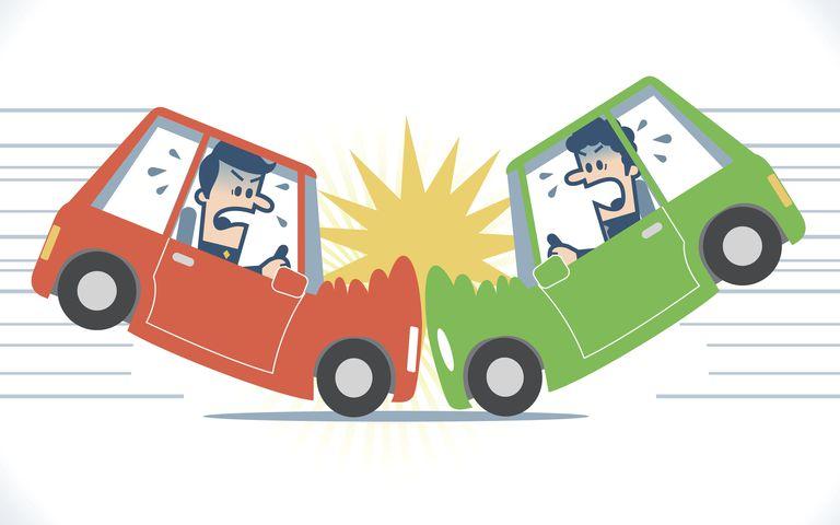 Drawing of a car crash