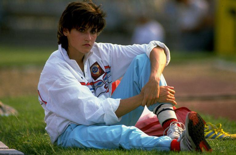 Galina Chistyakova set the world long jump record in 1988.