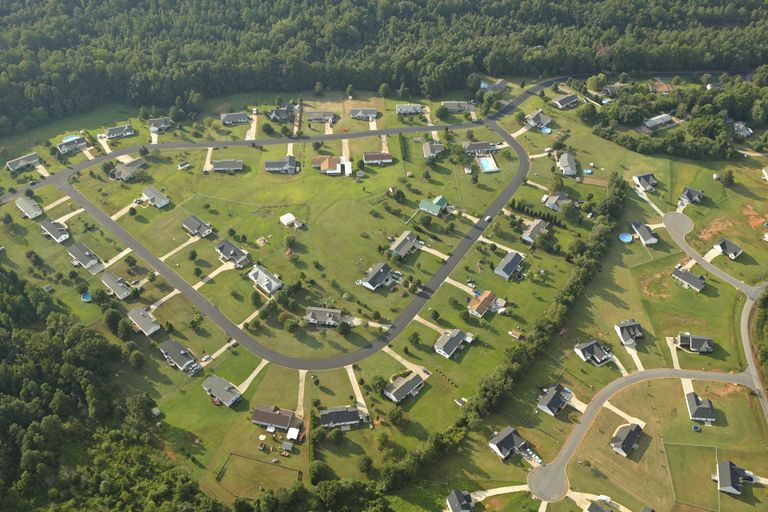 An aerial view of a planned suburban community.