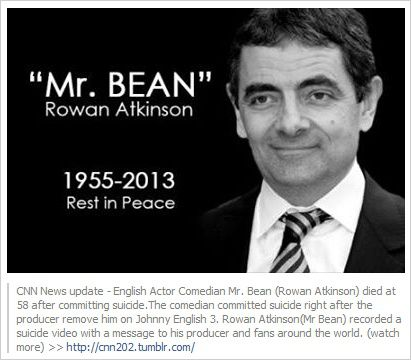 Mr. Bean committed suicide