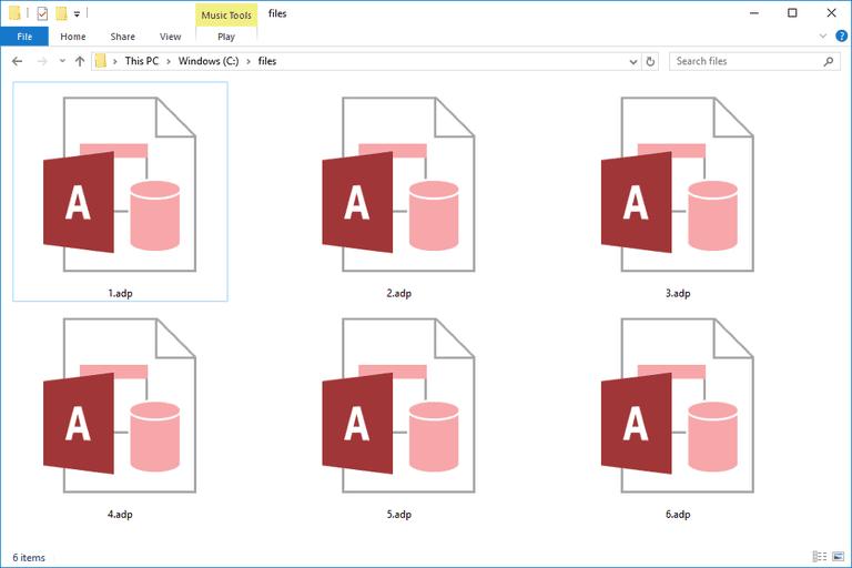 Screenshot of several ADP files in Windows 10
