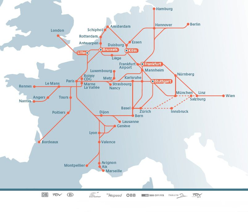 map of high speed rail lines in europe