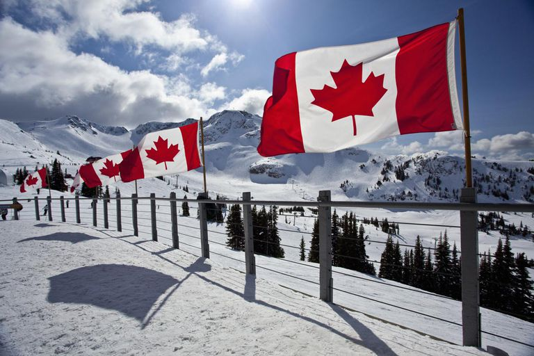Canadian flags, Whistler, BC, Canada