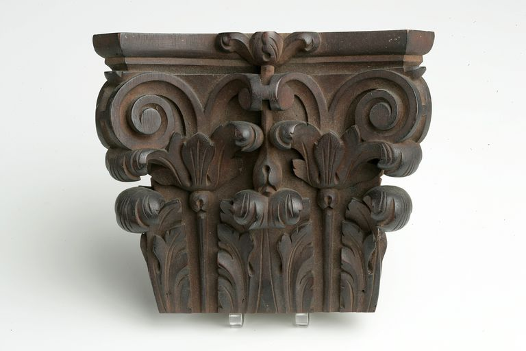 Composite capital c. 1887, a wooden decoration in a cabin of a Spanish Navy vessel