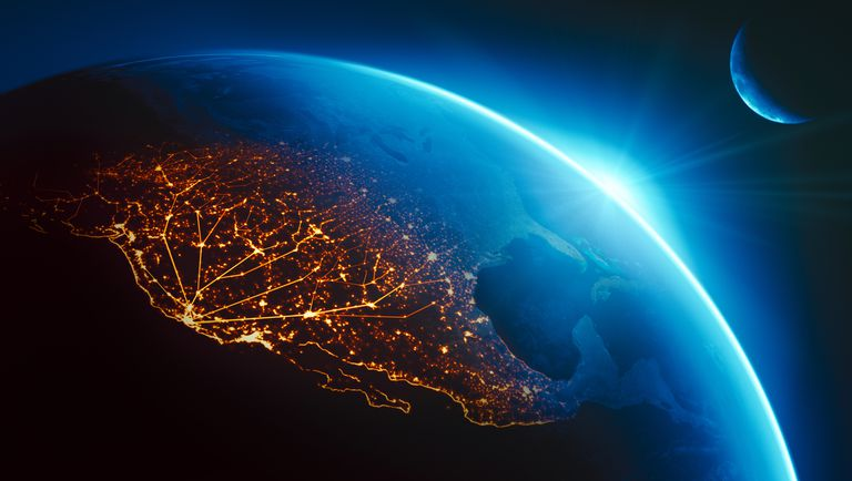 Connective lines of light starting at Silicon Valley and spreading across the world.