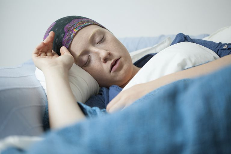 Cancer patient resting on sofa