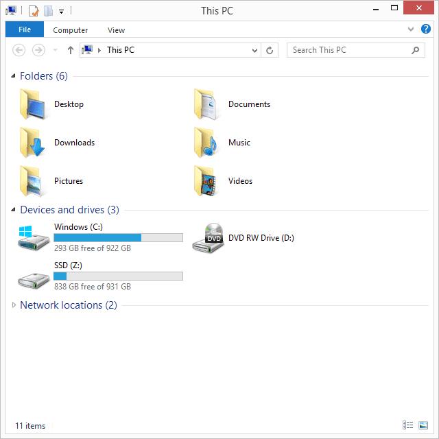Screenshot of File Explorer in Windows 8