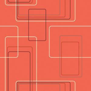 Orange Retro Geometric Rectangles Wallpaper 1960s