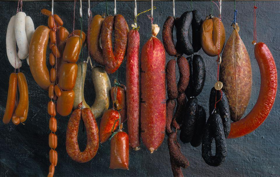 Assorted German sausages