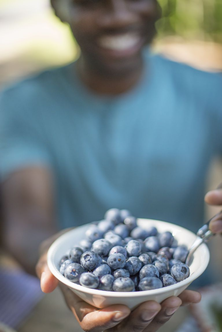 A family picnic meal in the shade of tall trees. Man holding a bowl of fresh blueberries.