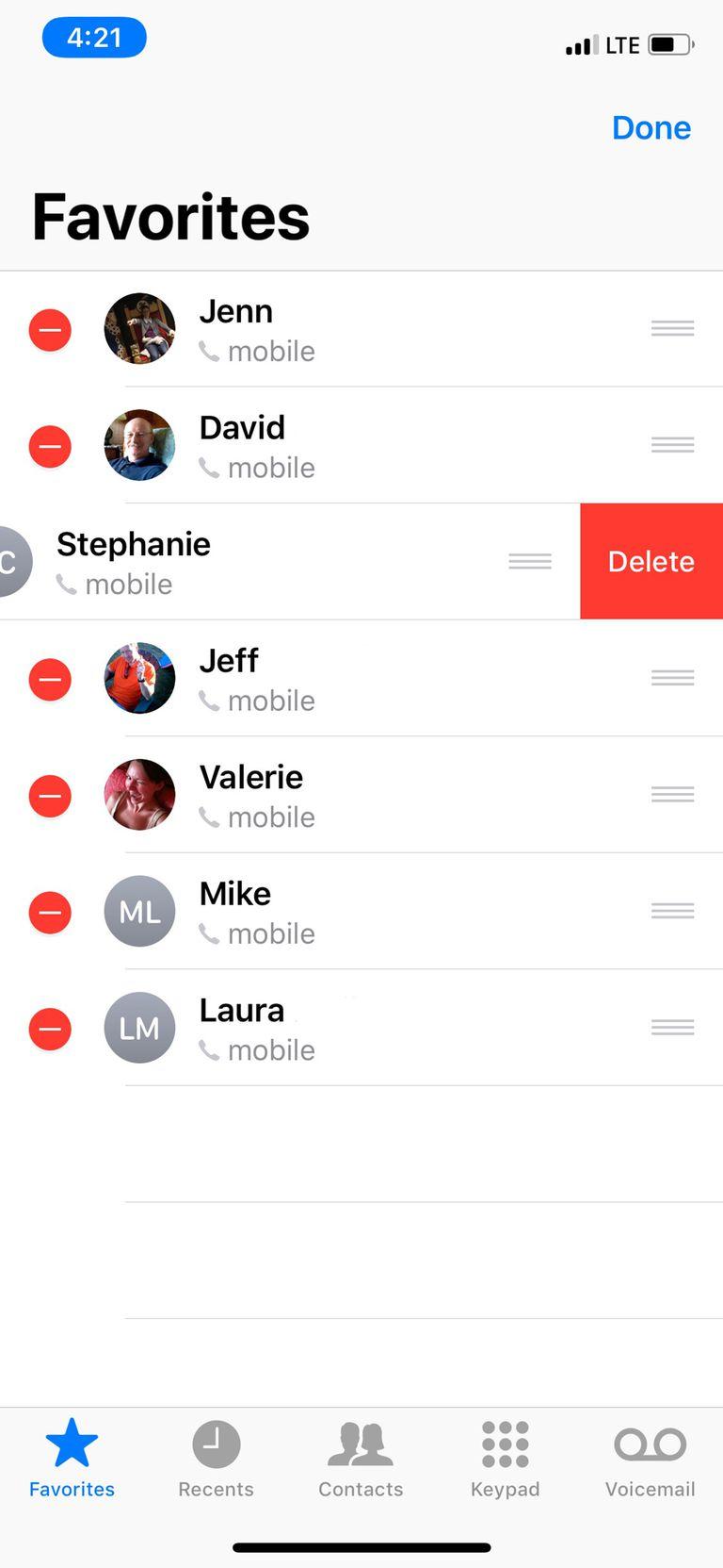 delete iphone favorites