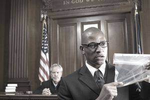 Lawyer Presenting Evidence During Trial