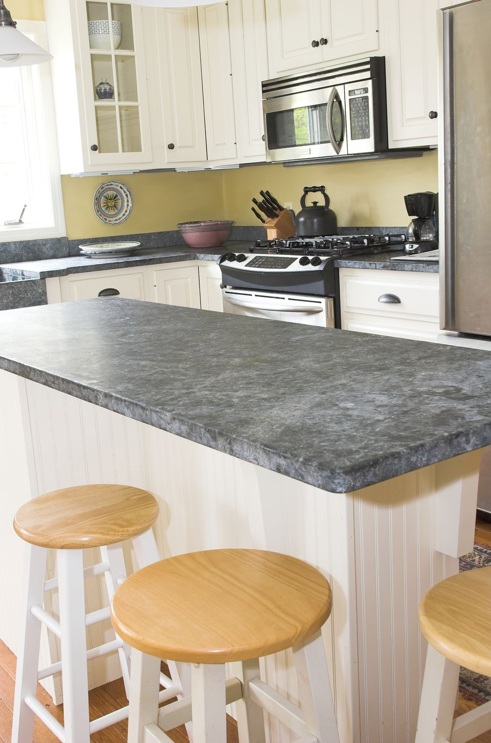Slate counters in a kitchen