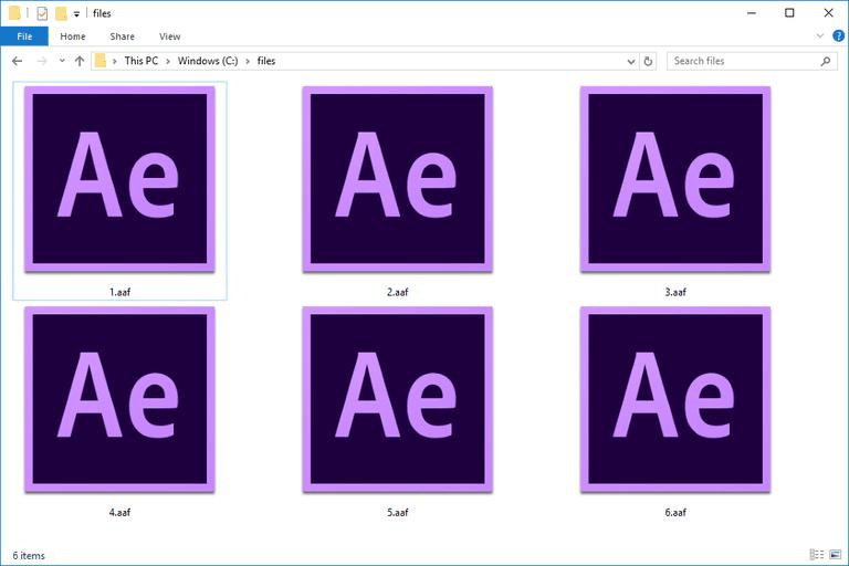 Screenshot of several AAF files in Windows 10