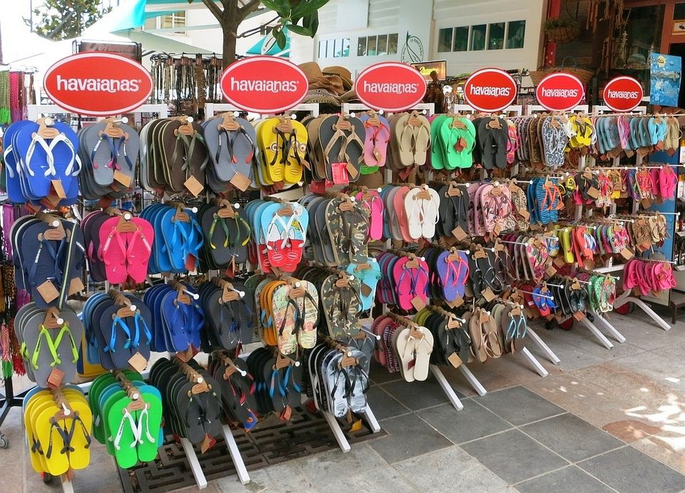 A selection of havainas flip-flops on the street.