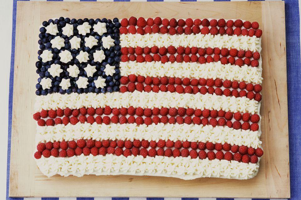 Brownie Flag With Raspberries and Blueberries