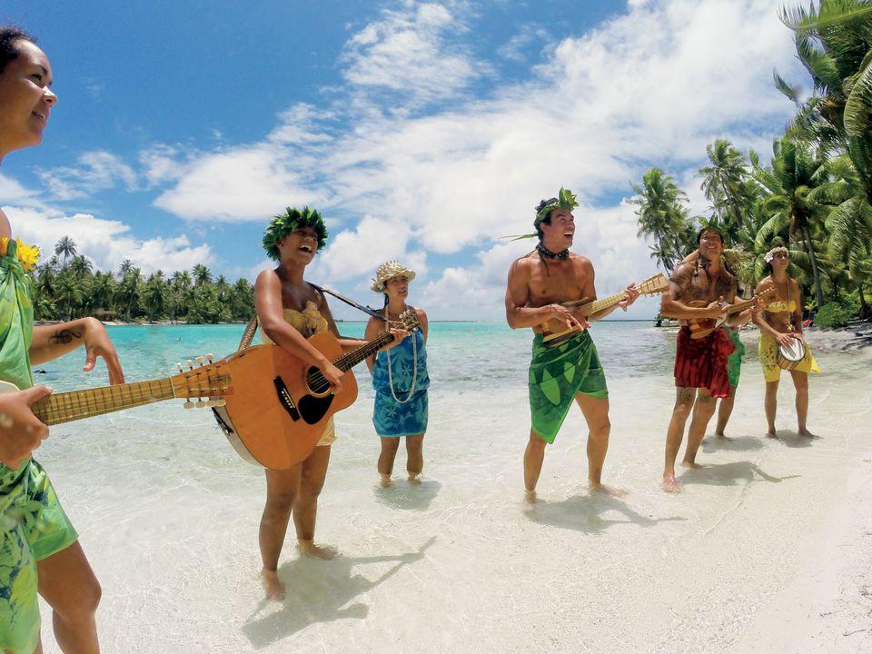 Music on a Tahiti beach in French Polynesia