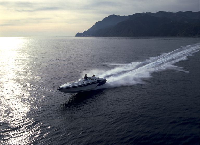 Luxury power boat off California coastline