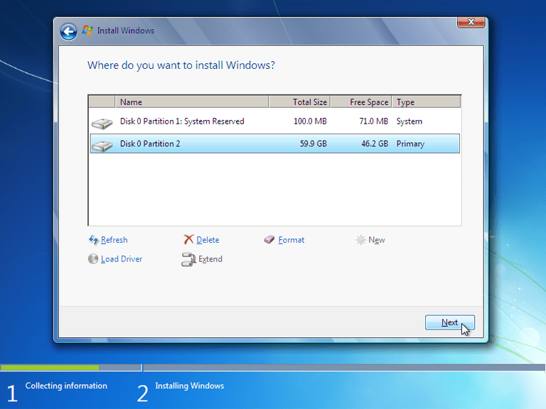 Screenshot of the Format Option in a Windows 7 Setup disc