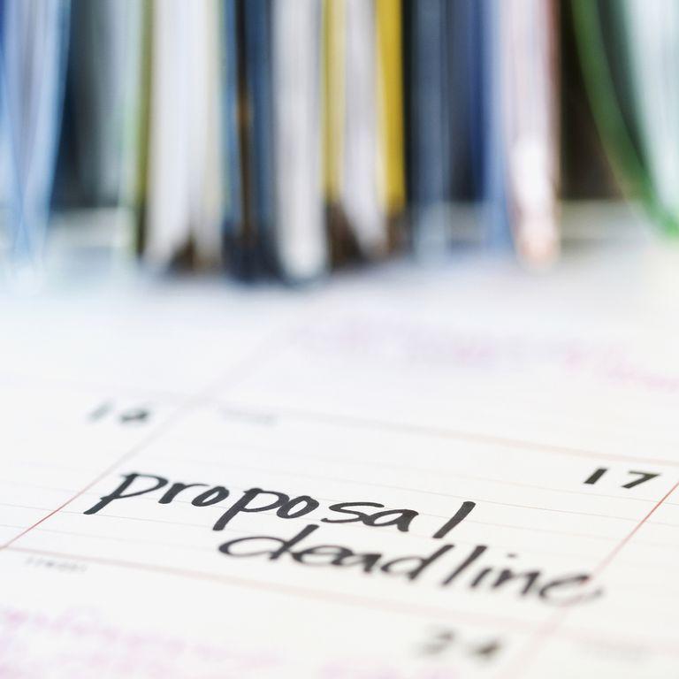 Calendar showing a proposal deadline.