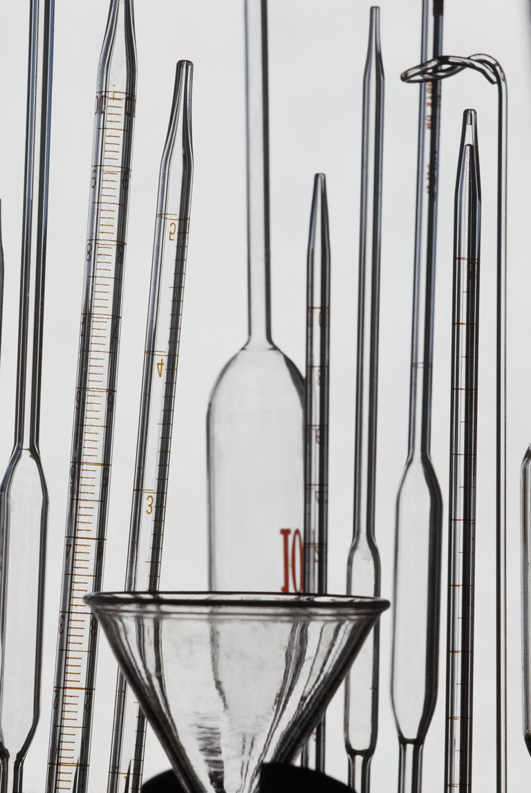 Glass test tubes, funnel and stir stick.