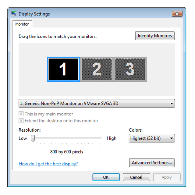 Screenshot of the Colors Display Setting in Windows Vista