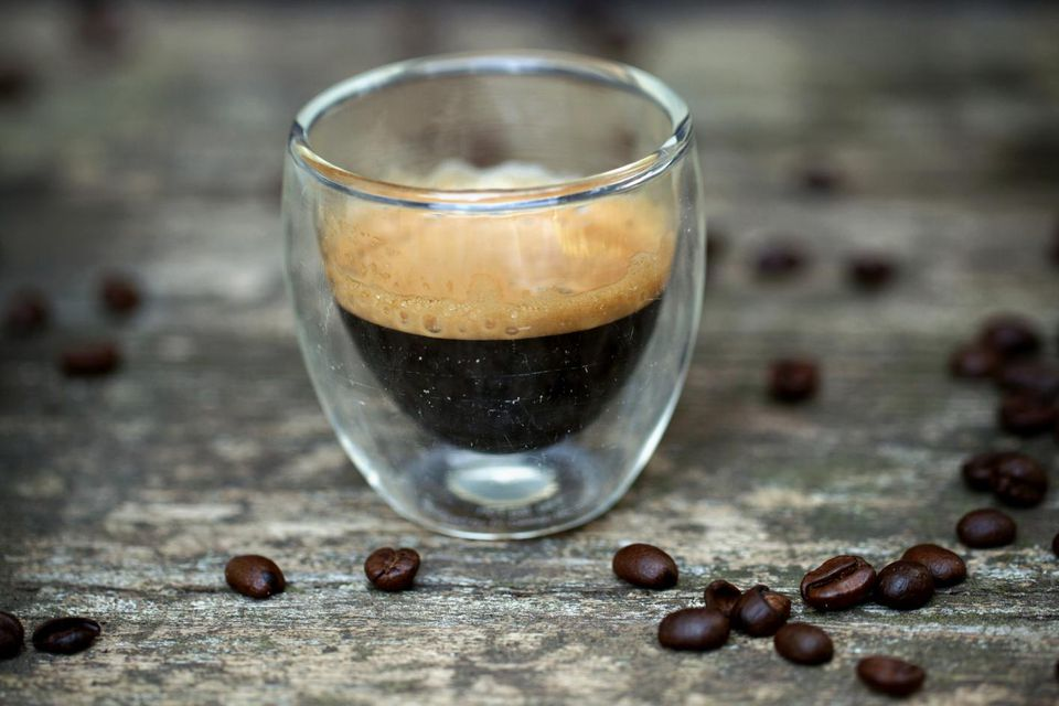 Typical espresso coffee in glass cup