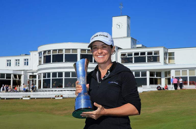 2014 Women's British Open winner Mo Martin with the trophy