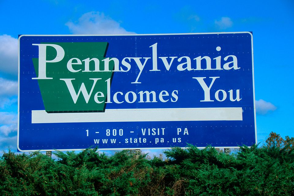 Pennsylvania Welcomes You highway sign